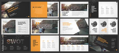 Fotografie, Obraz  Orange and black presentation templates elements on a white background