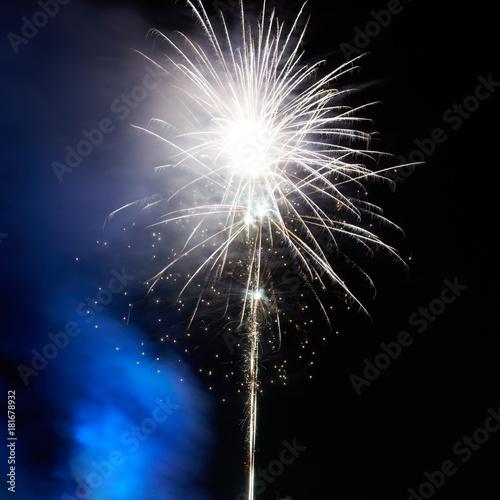 Fototapety, obrazy: Holiday fireworks on black sky