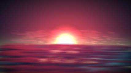 Panel Szklany Romantyczny Sea sunset vector background. Romantic landscape with red sky on ocean. Abstract summer sunrise