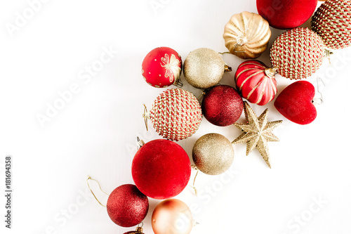 Christmas baubles. Flat lay, top view background. Canvas-taulu