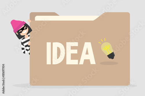 Obraz Female thief trying to steal an idea from a huge paper folder. Intellectual property. Business concept. Unfair competition. Flat vector illustration, clip art - fototapety do salonu