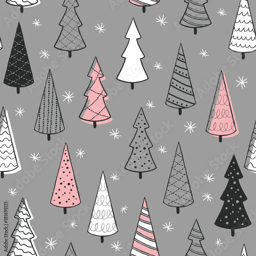Fototapety, obrazy: Cute seamless pattern with christmas tree. Hand Drawn vector illustration. Wrapping paper pattern. Background with abstract elements.