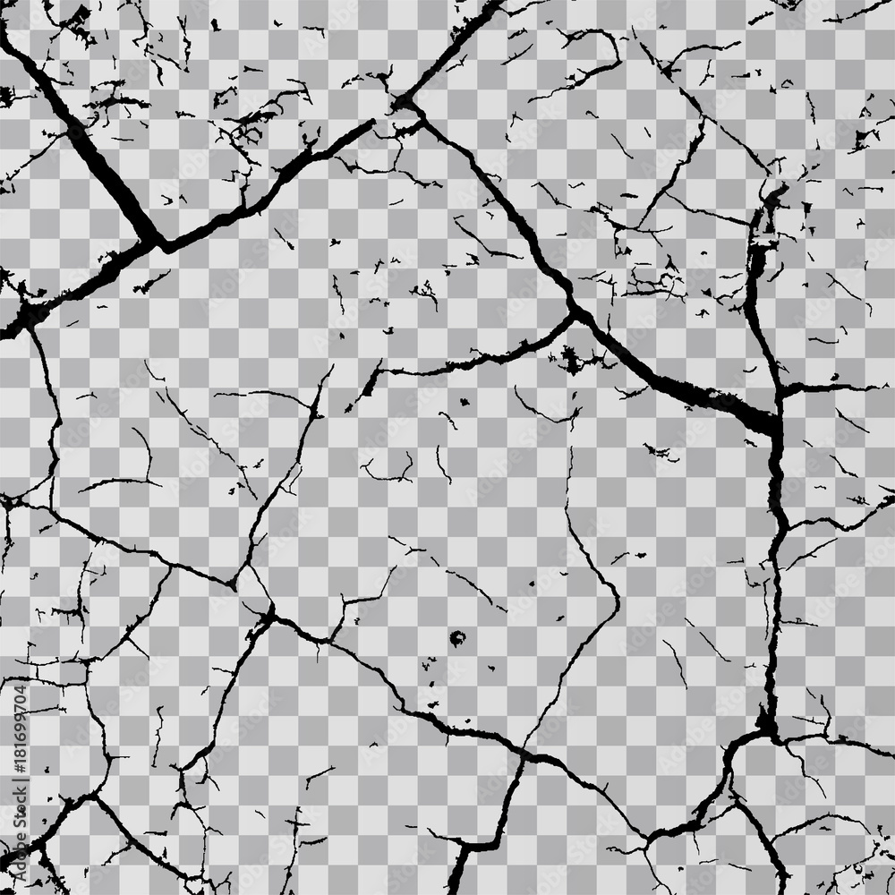 Fototapeta Wall cracks isolated on transparent background. Fracture surface ground, cleft broken collapse illustration
