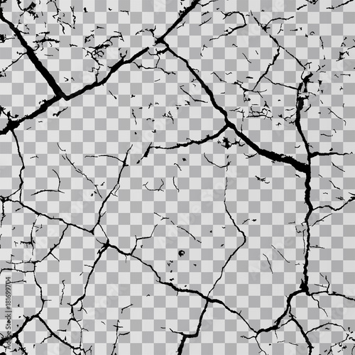 Fotografía  Wall cracks isolated on transparent background
