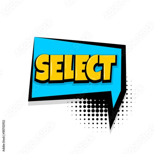 select choice comic text speech bubble balloon pop art style wow