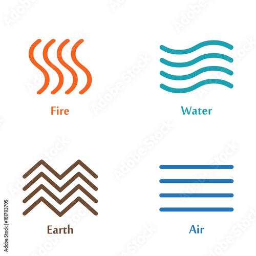 Vector Illustration Of Four Elements Icons Line Symbols Logo