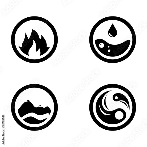 Vector Illustration Of Four Elements Icons Round Icons Symbols