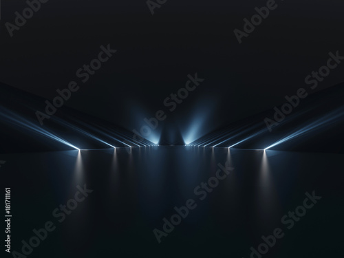 Fototapeta Futuristic dark podium with light and reflection background obraz