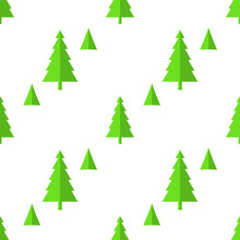 Seamless Pattern Of Christmas Trees, Isolate On White. Vector Illustration Seamless Pattern Christmas Trees For Banner, Greetings, Invitations, T-shirts, Textiles, Tissue, Wrapping Paper.