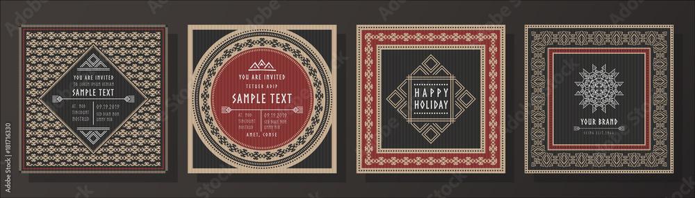 Fototapeta Abstract tribal vector invitation template set.