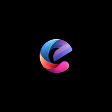 Initial Lowercase Letter E, Curve Rounded Logo, Gradient Vibrant Colorful Glossy Colors On Black Background