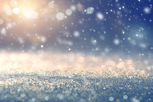 Christmas Background With Falling Snow, Snowflake. Holiday Winter For Merry Christmas And Happy New Year.