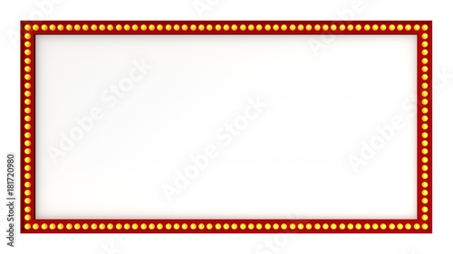 Photo  Red Marquee light board sign retro on white background