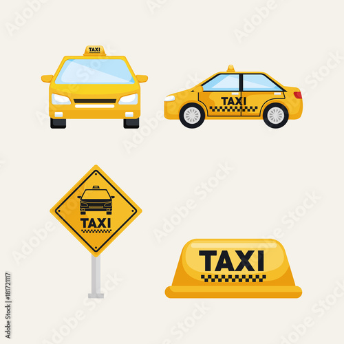 Fotografering taxi service set transport order internet elements vector illustration
