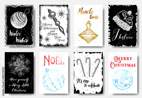 Big Set Of Creative Holiday Banner Templates Christmas And New Year Hand Drawn Illustrations For