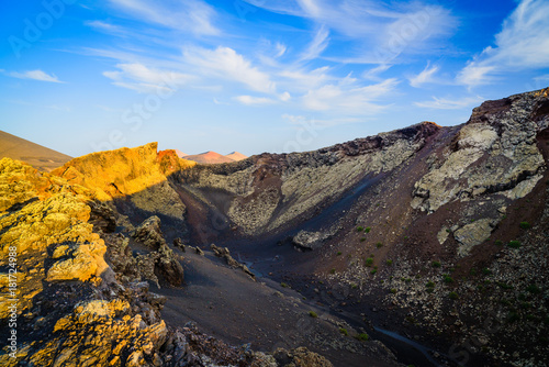 In de dag Grijs Incredible volcanic landscape in the volcano crater of El Cuervo. Lanzarote. Canary Islands. Spain