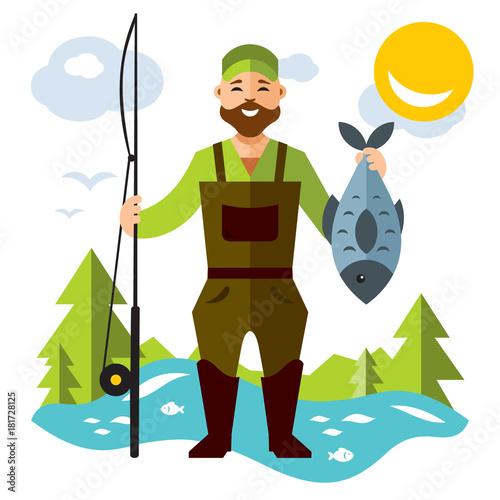 Vector Fishing Canvas Print