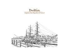 Hand Drawn Sketch Of The River Liffey Is A River In Ireland, Which Flows Through The Center Of Dublin. The Jeanie Johnson Sailship Dublin, Ireland In Vector Illustration.