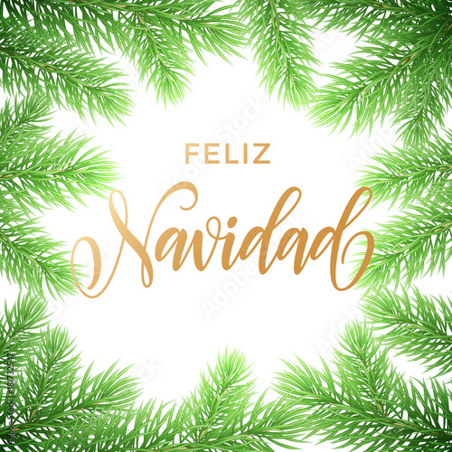 Feliz Navidad Spanish Merry Christmas Hand Drawn Golden Calligraphy