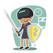 African businesswoman with vr headset holding shield and sword– stock illustration