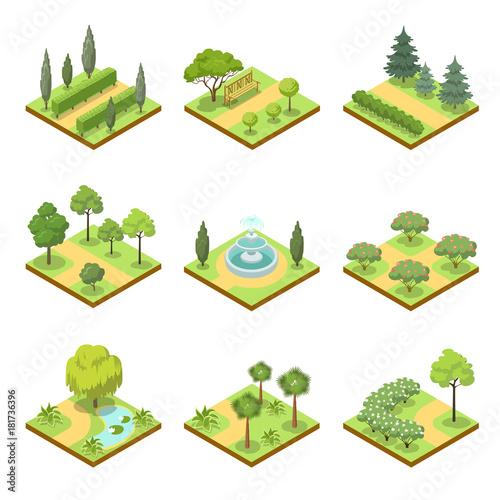 Fotografia, Obraz  Public park landscapes isometric 3D set