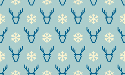 Fototapeta Boże Narodzenie/Nowy Rok Christmas deer and snowflake vector seamless pattern background for winter holiday greeting card. Vector simple flat line reindeer and geometric white snow for New Year decoration blue background