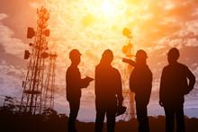 Silhouette Teams Engineer Looking Telecommunication Mast Television Antennas On Sunlight