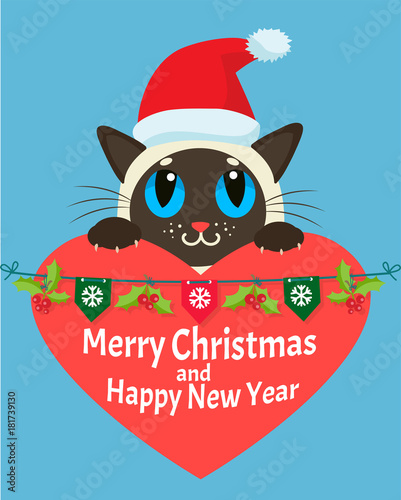 a cat in love happy new year card christmas kitty with red santa hat