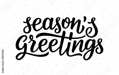 Seasons greetings calligraphy lettering text on white background seasons greetings calligraphy lettering text on white background with vintage paper texture retro greeting card m4hsunfo