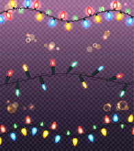 Colourful Glowing Christmas Lights Illustration