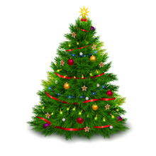 A Bushy Decorated Christmas Tree On White Background