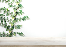 Wood Table Top On White Wall W...