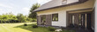 Leinwanddruck Bild - The dog already loved this house