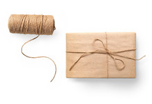 Parcel Wrapped Packaged Box Gift And Rope Isolated On White Background