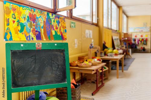 Cuadros en Lienzo Hallway in primary school, recreation area with toys