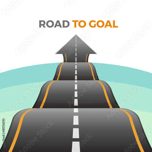 Cuadros en Lienzo  Road to goal abstract way from asphalt with marking vector