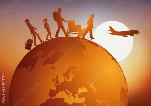 Fotografie, Obraz voyage - voyager - globe - famille - tourisme - touriste - voyageur - avion - aé
