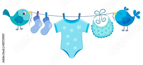 Wall Murals For Kids Line with clothing for baby boy