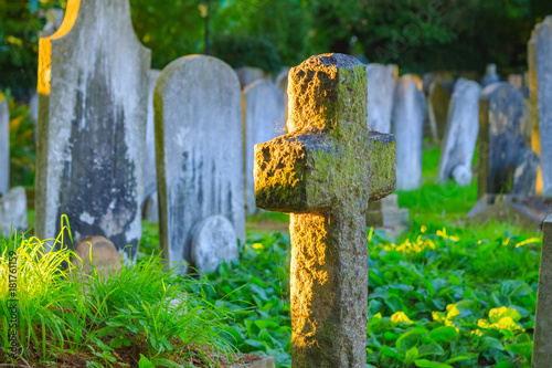 Foto auf Leinwand Friedhof Selective focus, golden sunlight shining on cemetery in Hampstead of London