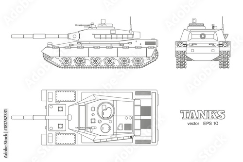 Realistic tank blueprint outline armored car on white background realistic tank blueprint outline armored car on white background top side front malvernweather Gallery