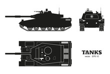Silhouette Of Realistic Tank Blueprint. Armored Car On White Background. Top, Side, Front Views. Army Weapon. War Camouflage Transport. Vector Illustration
