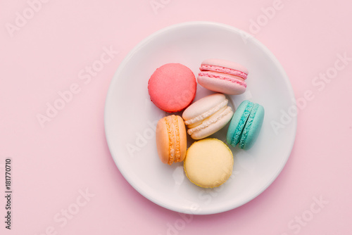 Canvas Prints Macarons Homemade Colorful macaroons or macaron on White plate