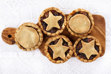 Traditional Homemade Fruit Mince Pies On A Cutting Board.