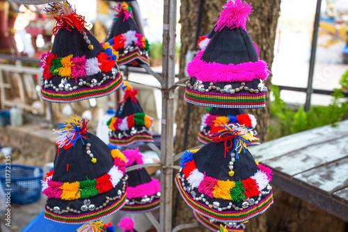 Fényképezés Colorful patterns of Akha tribe hats, Chiang Mai, Thailand.
