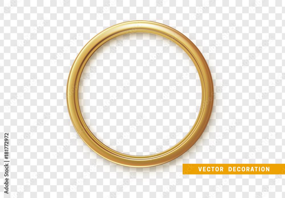 Fototapety, obrazy: Golden round frame isolated on transparent background.