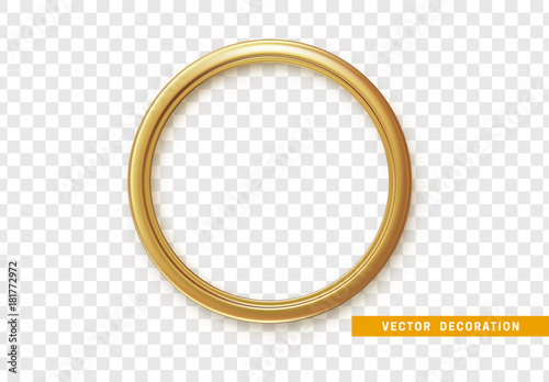 Photo  Golden round frame isolated on transparent background.