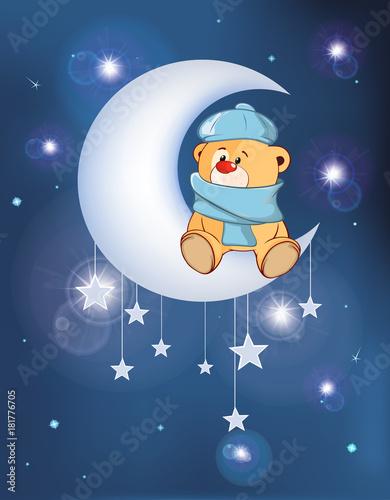 Poster Babykamer Illustration The Dog on the Moon