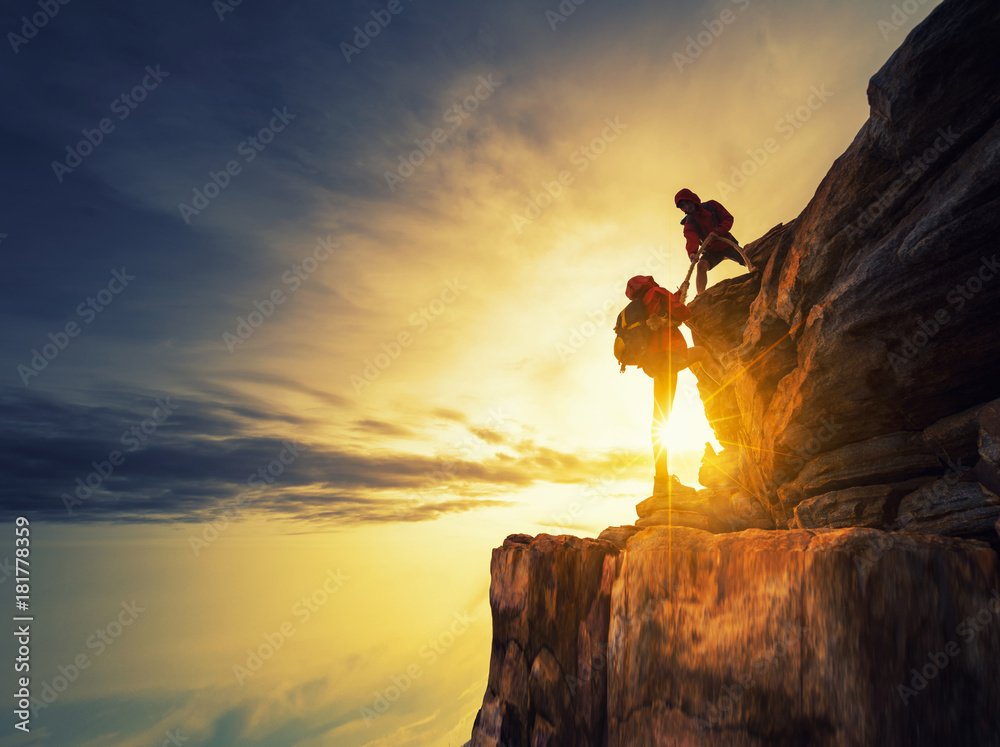 Fototapety, obrazy: Asia couple hiking help each other silhouette in mountains with sunlight.