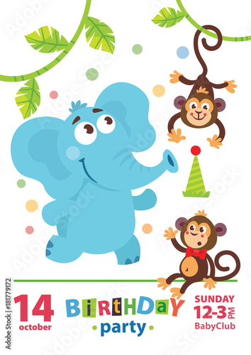 Greeting Card Design With Cute Elephant And Monkey Happy Birthday