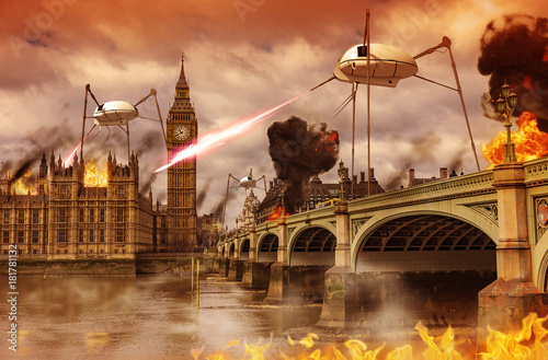 Alien Invasion of London Wallpaper Mural